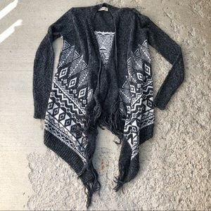 Hollister open front southwestern knitted cardigan